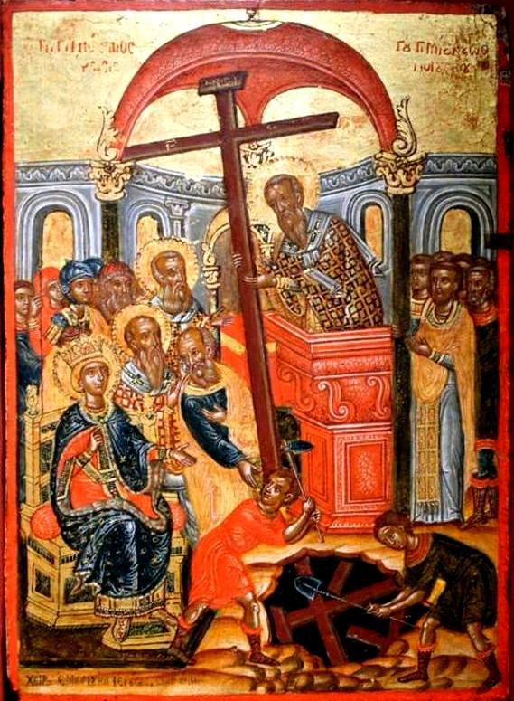 Воздвижение Честного и Животворящего Креста Господня. Греческая икона.