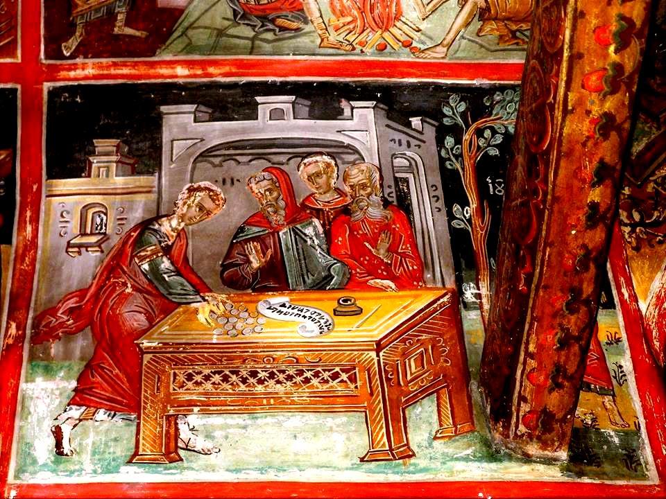 Предательство Иуды. Фреска. Метеоры, Греция. XVI век.