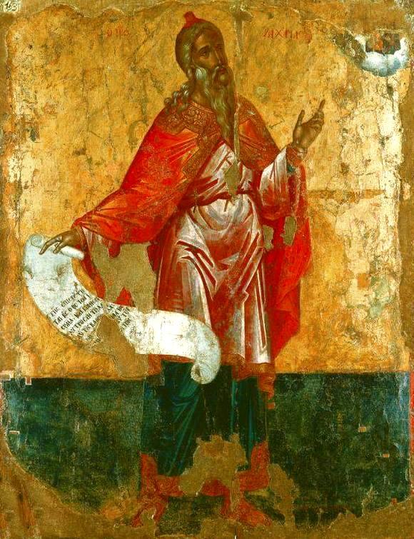 Святой Пророк Захария, отец Святого Иоанна Предтечи. Старинная греческая икона.