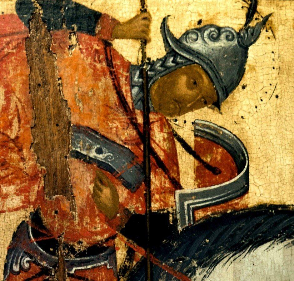 Святой Великомученик Меркурий Кесарийский поражает Юлиана Отступника. Греческая икона. Византийский музей в Верии, Греция. Фрагмент.
