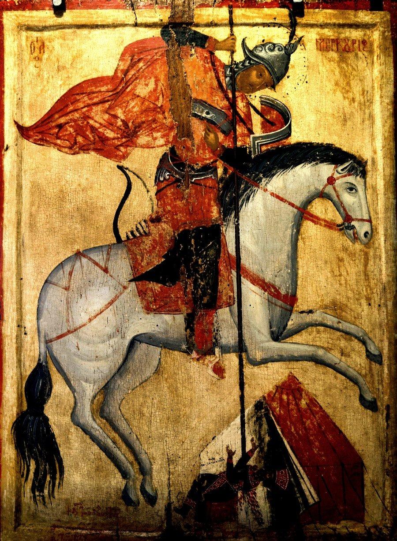 Святой Великомученик Меркурий Кесарийский поражает Юлиана Отступника. Греческая икона. Византийский музей в Верии, Греция.