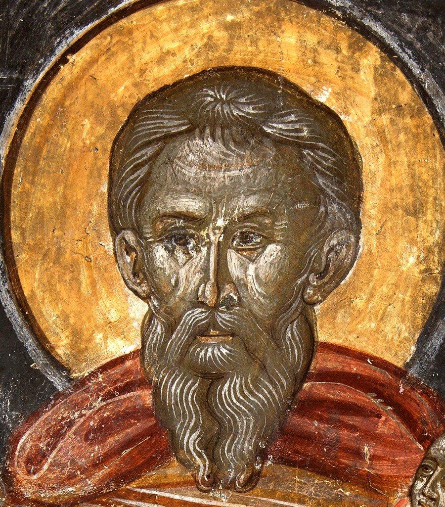 Святой Преподобный Стилиан Пафлагонянин. Фреска церкви Панагии Паригоритиссы в Арте, Греция.