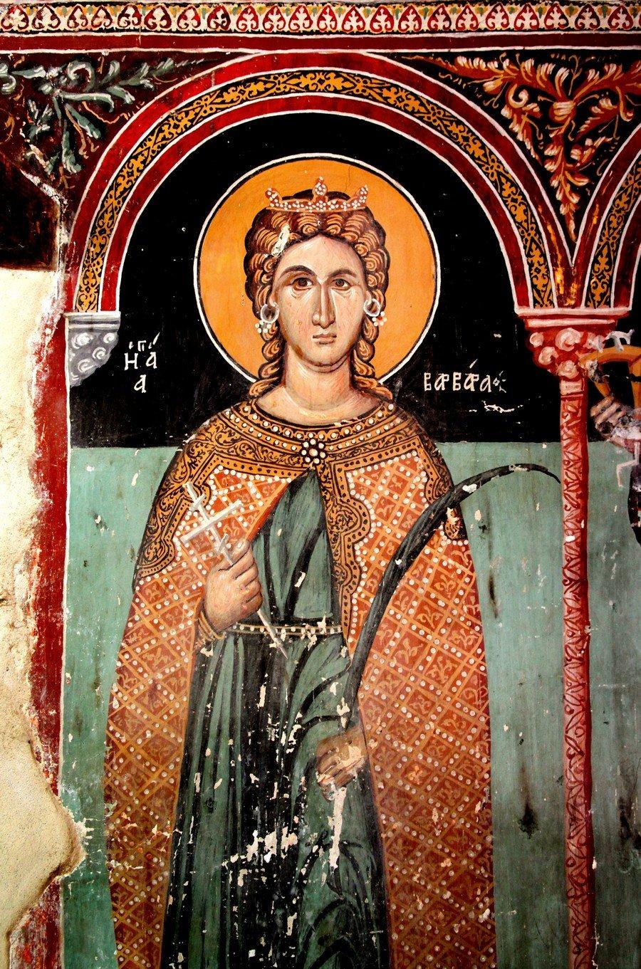 Святая Великомученица Варвара. Фреска церкви Архангела Михаила и Божией Матери в Галате на Кипре. 1514 год.