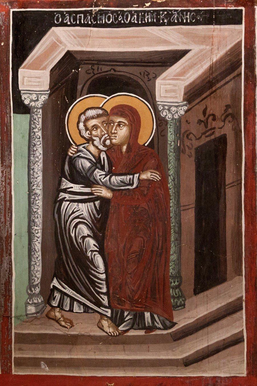 Зачатие Праведною Анною Пресвятой Богородицы. Фреска церкви Архангела Михаила и Божией Матери в Галате на Кипре. 1514 год.