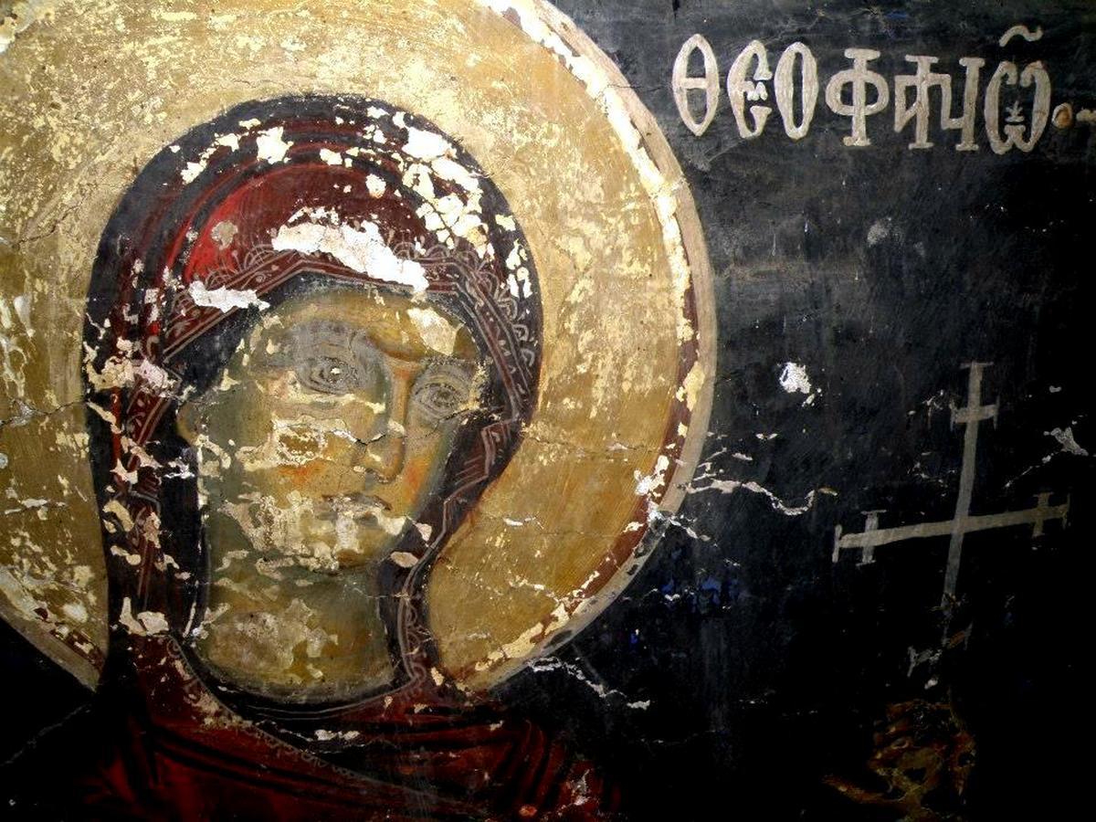 Святая Блаженная царица Феофания (Феофано) Византийская. Фреска церкви Святого Иоанна Предтечи в Кастории, Греция. XVIII век.