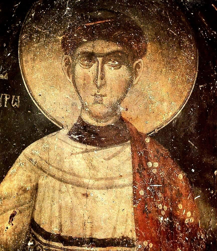 Святой Апостол от Семидесяти, Первомученик и Архидиакон Стефан. Фреска. Кастория, Греция.