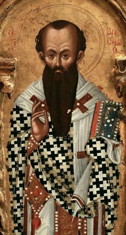 Святитель Василий Великий, Архиепископ Кесарии Каппадокийской. Фрагмент Царских врат. Кипр, XV век.
