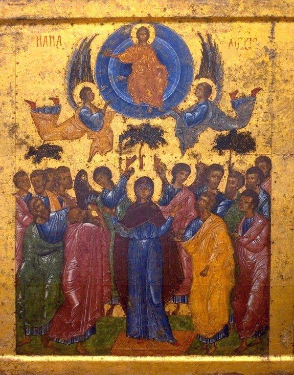 Вознесение Господне. Икона из праздничного ряда иконостаса Софийского собора в Новгороде. XIV век.