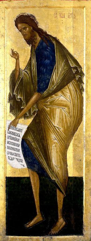 Святой Иоанн Предтеча. Икона из деисусного ряда иконостаса Успенского собора Кирилло-Белозерского монастыря. Около 1497 года. Кирилло-Белозерский музей-заповедник.