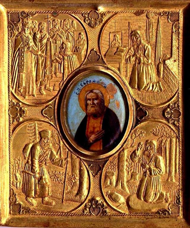 Святой Преподобный Серафим Саровский, со сценами жития. Икона начала ХХ века.
