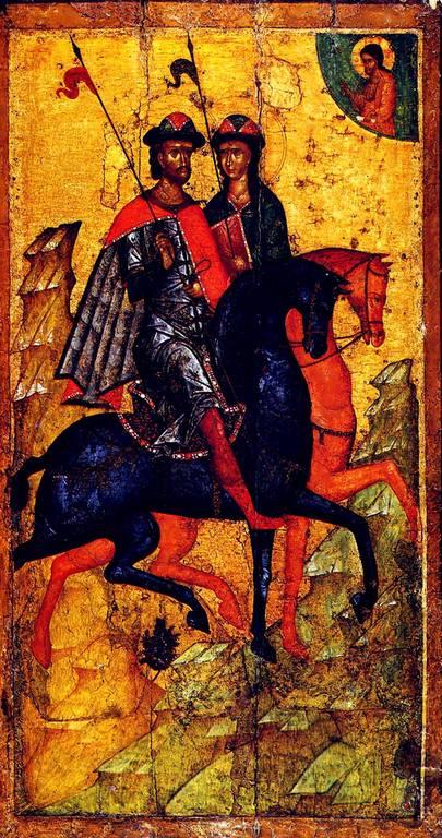 Святые Благоверные Князья Борис и Глеб. Икона. Москва, середина XIV века.