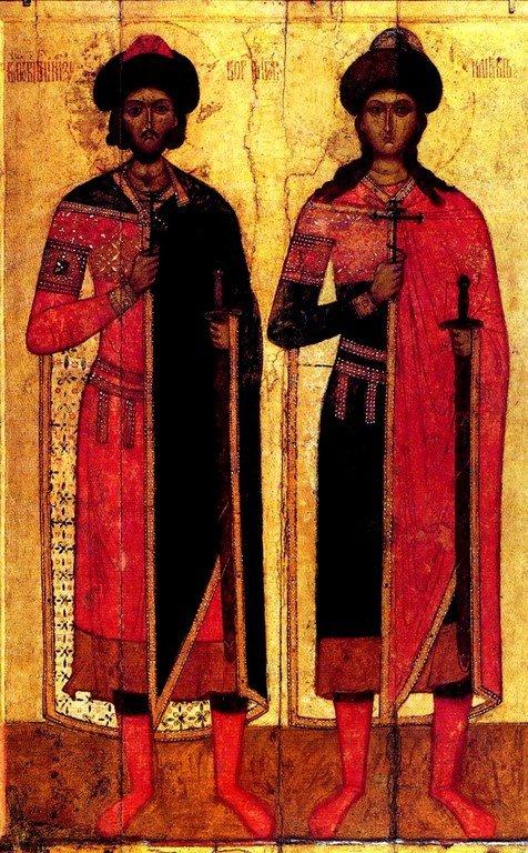 Святые Благоверные Князья Борис и Глеб. Икона. Новгород, XIV век.