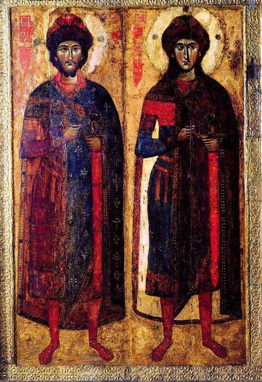 Святые Благоверные Князья Борис и Глеб. Икона. Тверь, XIII век.