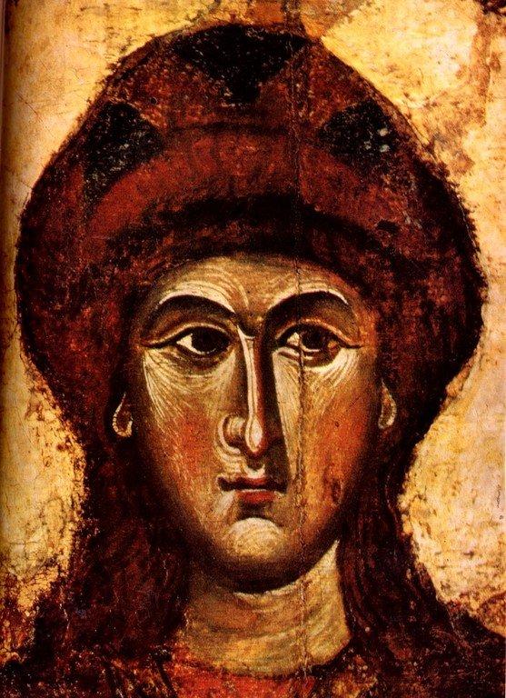 Святые Благоверные Князья Борис и Глеб. Икона. Тверь, XIII век. Лик Святого Глеба.