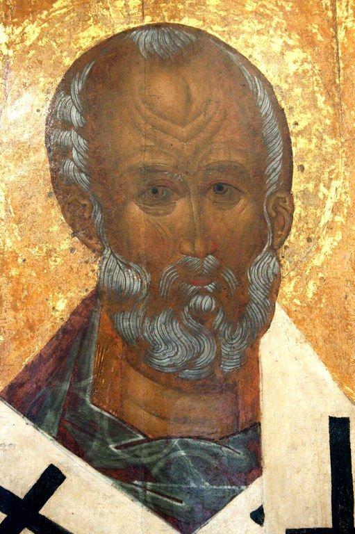 Святитель Николай, Архиепископ Мир Ликийских, Чудотворец. Икона. Тверь, XVI век. Лик Святого.