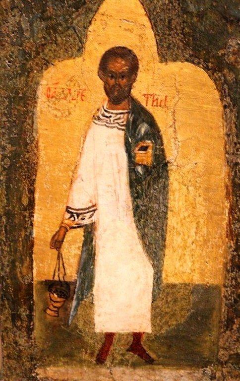 Святой Мученик Лаврентий, Архидиакон Римский. Икона новгородской школы.