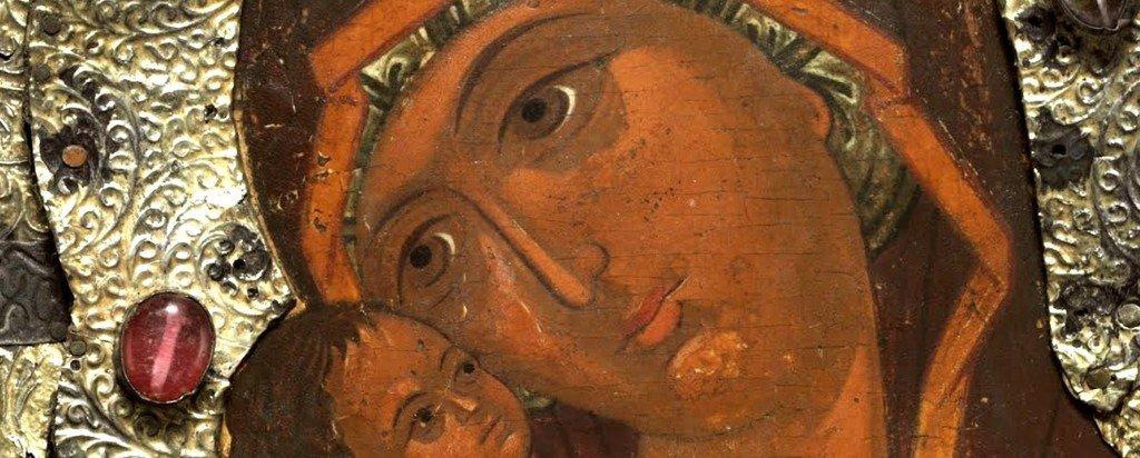 Донская икона Божией Матери. Россия, около 1650 года. Фрагмент.