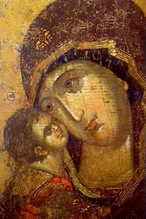 Владимирская икона Божией Матери. Москва, XV век. Лики.