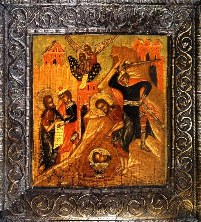 Усекновение главы Святого Иоанна Предтечи. Икона. Центральная Россия, вторая половина XVII века.