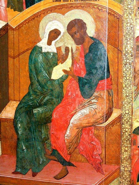 Святые Праведные Иоаким и Анна, родители Пресвятой Богородицы. Русская икона.