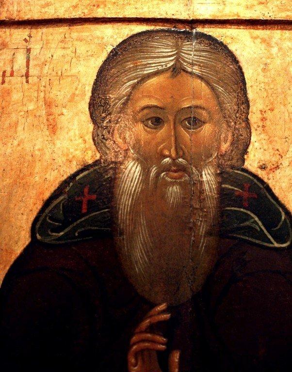 Святой Преподобный Сергий, Игумен Радонежский, Чудотворец. Икона XVII века. Фрагмент.