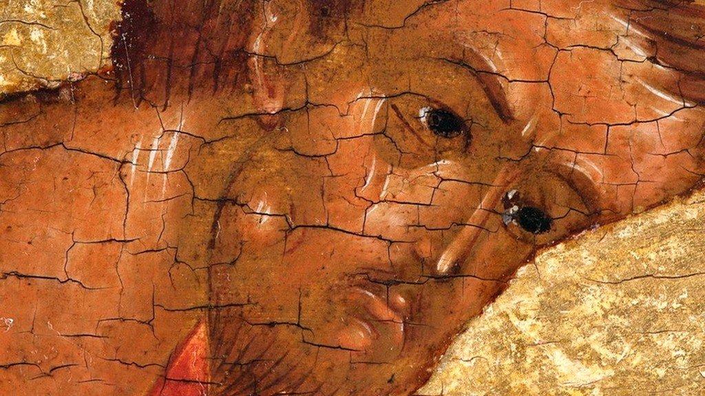 Святой Апостол и Евангелист Лука. Клеймо Царских Врат. Ростов Великий, начало XVI века. Фрагмент.