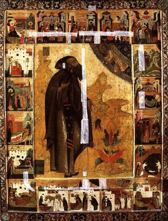 Святой Преподобный Варлаам Хутынский. Икона XVII века.