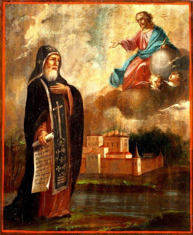 Святой Преподобный Варлаам Хутынский. Икона первой трети XIX века.