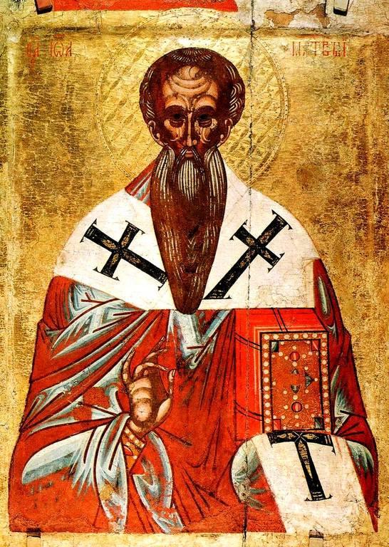 Святитель Иоанн Милостивый, Патриарх Александрийский. Икона. Новгород (?), начало XVI века.