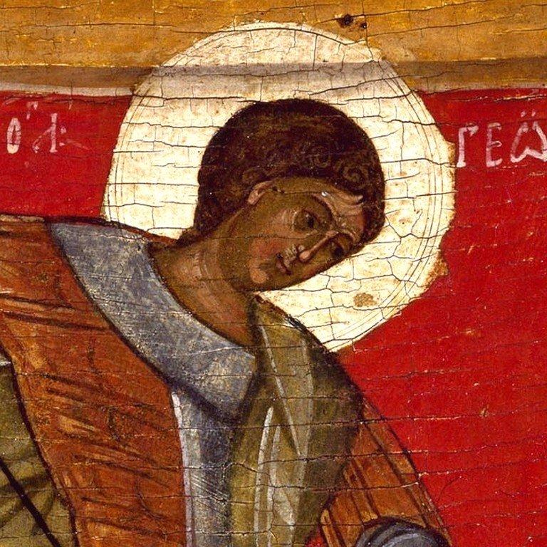 Чудо Святого Георгия о змие. Икона. Новгород, XV век. Фрагмент.