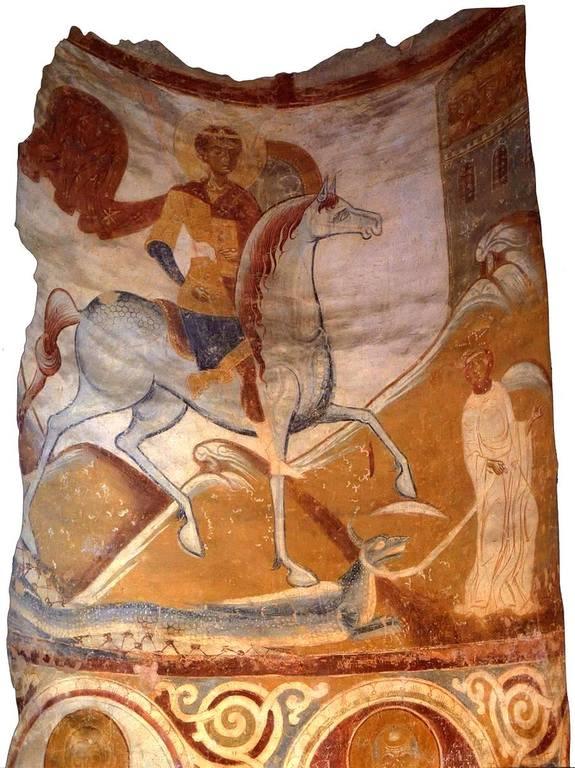 Чудо Святого Георгия о змие. Фреска Георгиевской церкви в Старой Ладоге. XII век.