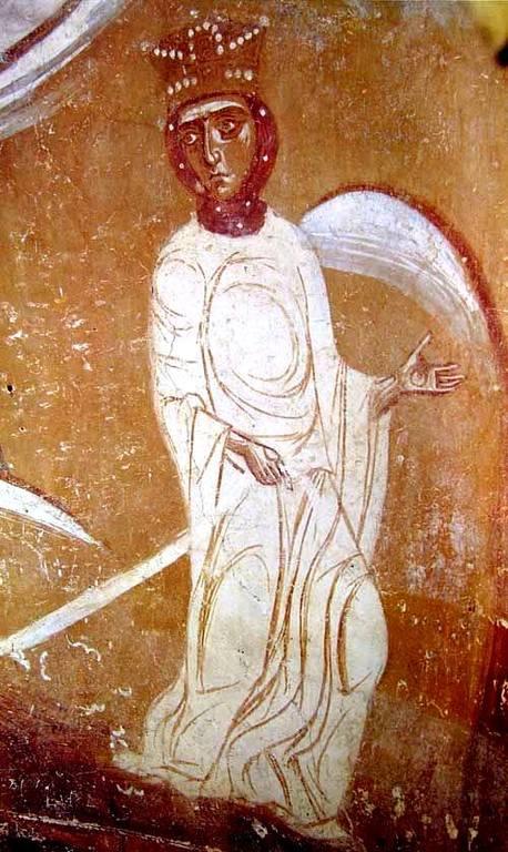 Чудо Святого Георгия о змие. Фреска Георгиевской церкви в Старой Ладоге. XII век. Фрагмент.