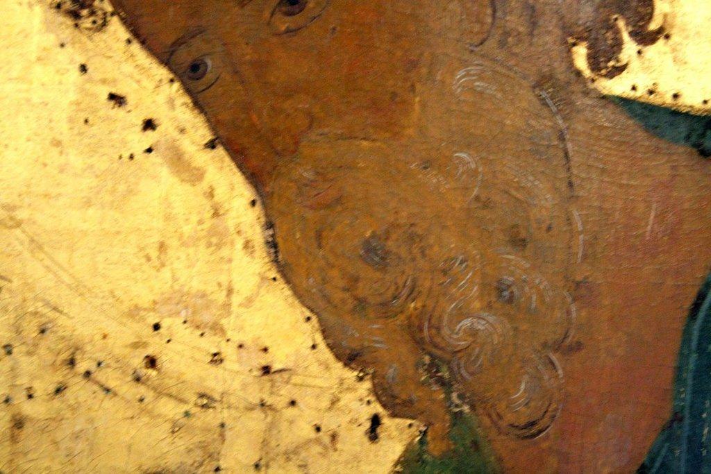 Святой Апостол Андрей Первозванный. Икона из деисусного чина Успенского собора Кирилло-Белозерского монастыря. Около 1497 года. Фрагмент.