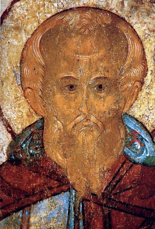 Святой Преподобный Даниил Столпник. Фрагмент русской иконы XVI века.