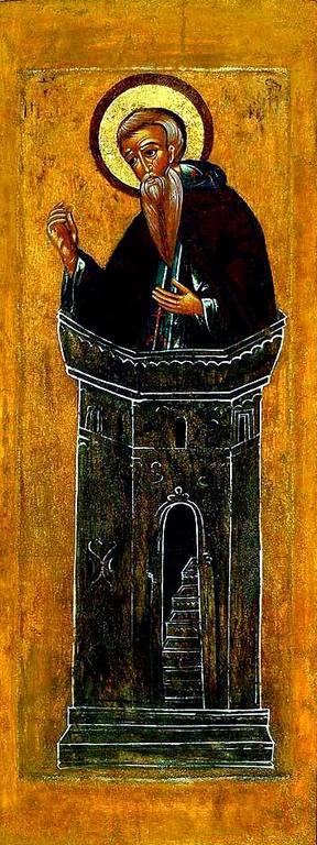 Святой Преподобный Даниил Столпник. Русская икона первой половины XVII века.