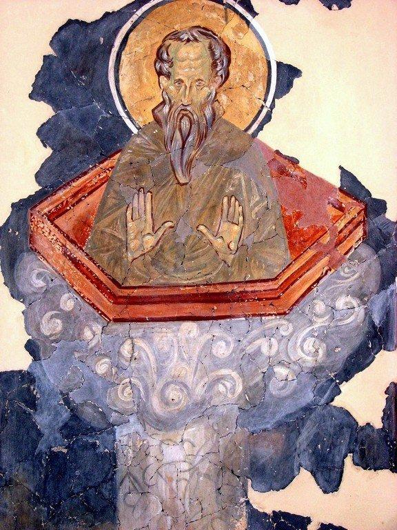 Святой Преподобный Даниил Столпник. Фреска церкви Спаса на Ковалеве. 1380 год.