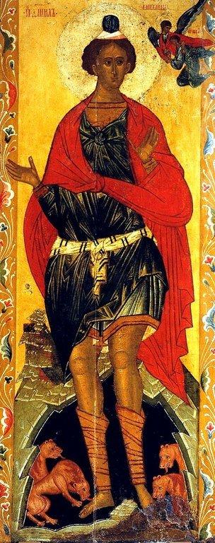 Святой Пророк Даниил во рву львином. Икона. Новгород, XVI век.
