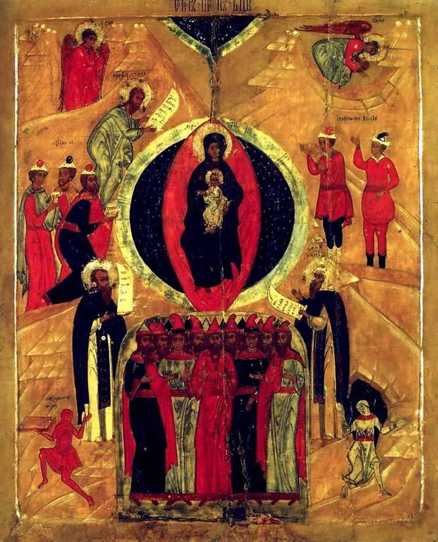 Собор Пресвятой Богородицы. Икона. Русский Север, конец XVII века.