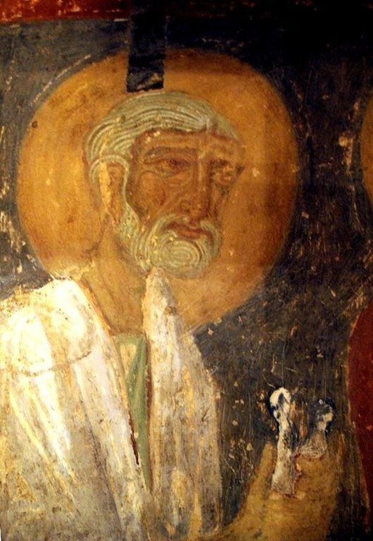 Святой Праведный Иосиф Обручник. Фреска Спасо-Преображенской церкви в Полоцке. XII век.