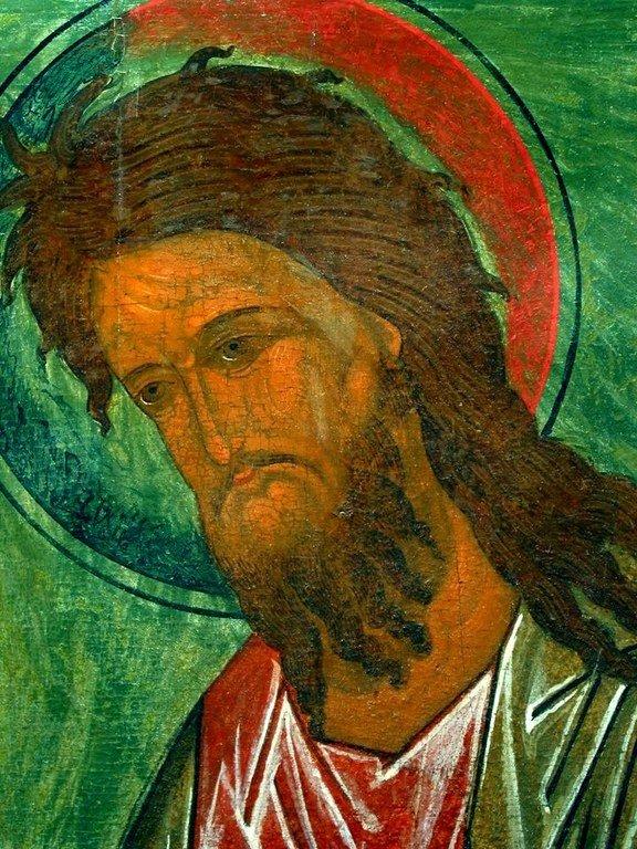 Святой Иоанн Предтечи. Икона. Псков, XVI век. Фрагмент.