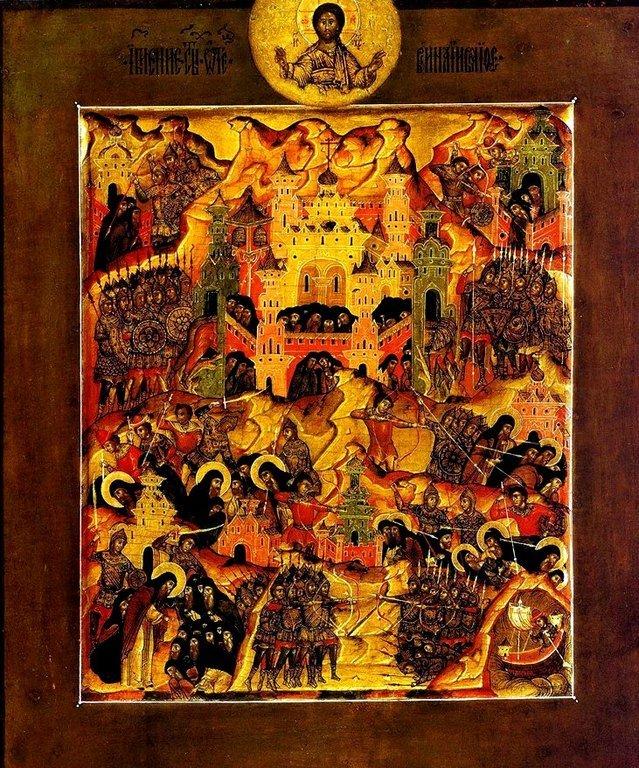 Святые Преподобные отцы, в Синае и Раифе избиенные. Икона строгановской школы начала XVII века. Иконописец Первуша.