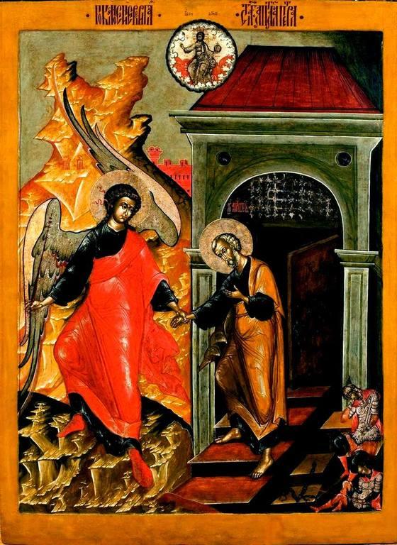 Ангел Господень изводит Святого Апостола Петра из темницы. Икона. Ярославль, вторая половина XVII века.