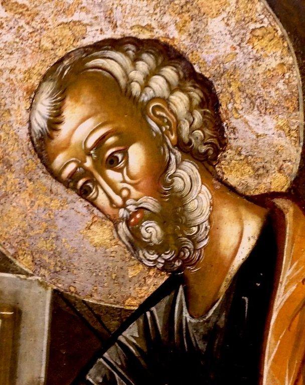 Ангел Господень изводит Святого Апостола Петра из темницы. Икона. Ярославль, вторая половина XVII века. Фрагмент. Лик Святого Петра.
