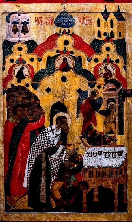 Поклонение честным веригам Святого Апостола Петра. Икона. Новгород, XVI век.