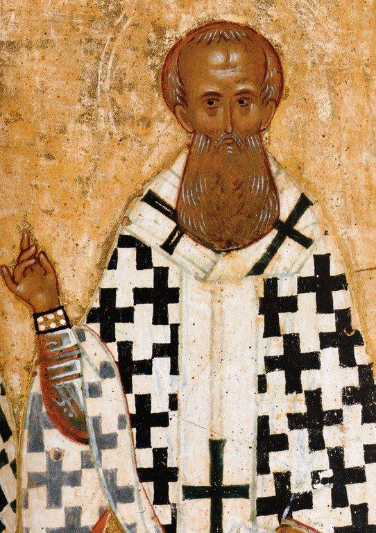 Святитель Григорий Богослов. Фрагмент новгородской иконы конца XV века.