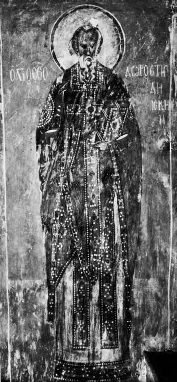 Святой Преподобный Феодор Студит, Исповедник. Фреска церкви Успения на Волотовом поле в Новгороде. 1360 - 1380-е годы.