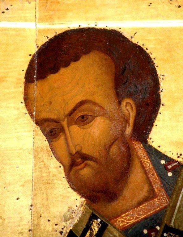 Святитель Иоанн Златоуст. Икона. Ярославль, XVI век. Фрагмент.