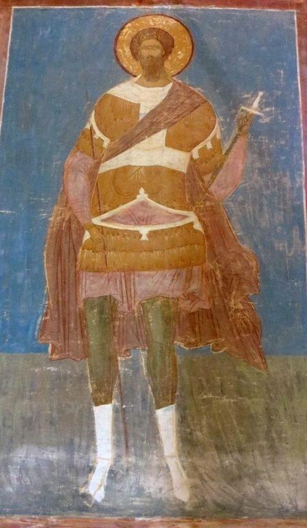 Святой Великомученик Феодор Стратилат. Фреска Дионисия в соборе Рождества Пресвятой Богородицы Ферапонтова монастыря. 1502 год.