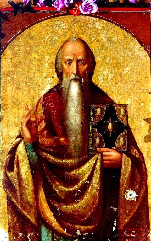 Священномученик Харалампий, Епископ Магнезийский. Икона. Русский мастер, работавший на Афоне. XIX век.