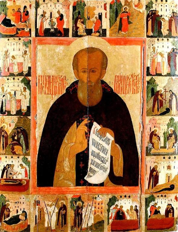Святой Преподобный Димитрий Прилуцкий, с житием. Икона. Вологда, середина XVII века.